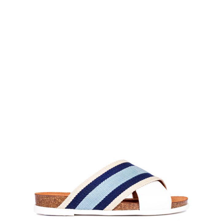 sandalia blanca y rallas